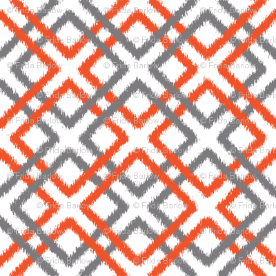 Weave Ikat in Gray and Tangerine