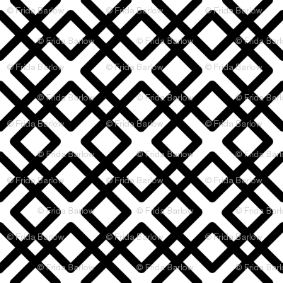 Modern Weave in black over white