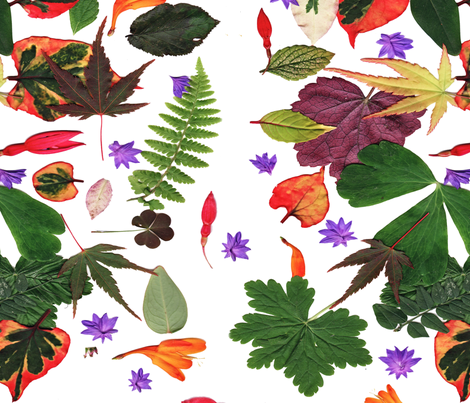 "Autumn leaves & flowers collage fabric by frances""fancy_felter"" on Spoonflower - custom fabric"