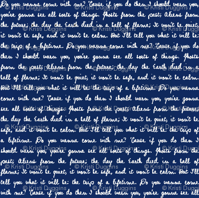 Handwritten White Script Quote Text on Police Box Blue