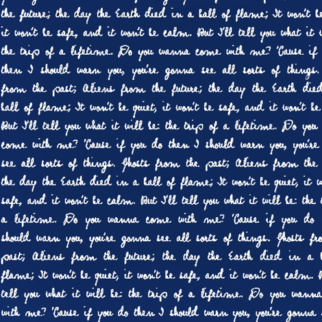 Handwritten White Script Quote Text on Police Box Blue fabric by bohobear on Spoonflower - custom fabric