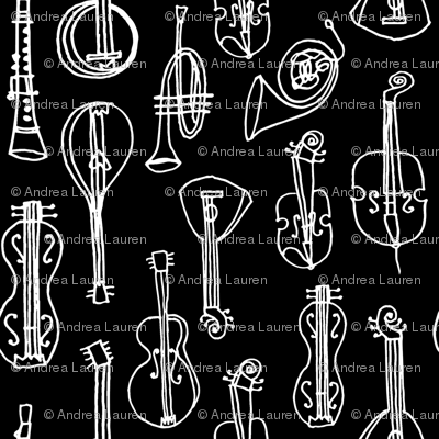 Music Instruments // black and white hand-drawn vintage instruments