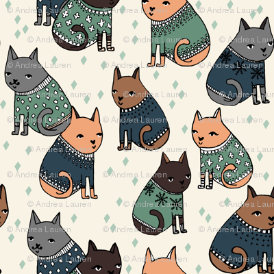 Cats at a Sweater Party - Parisian Blue/Viridian by Andrea Lauren