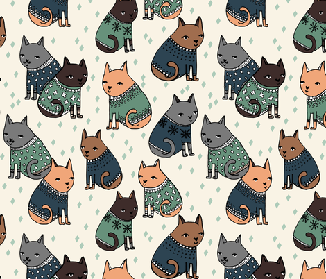 Cats at a Sweater Party - Parisian Blue/Viridian by Andrea Lauren fabric by andrea_lauren on Spoonflower - custom fabric