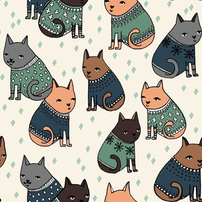 cats in sweaters // blue green and grey masculine colors for cat men and cat dads