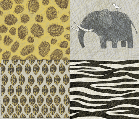 AMBOSELI KENYA flat quarter fabric by bzbdesigner on Spoonflower - custom fabric