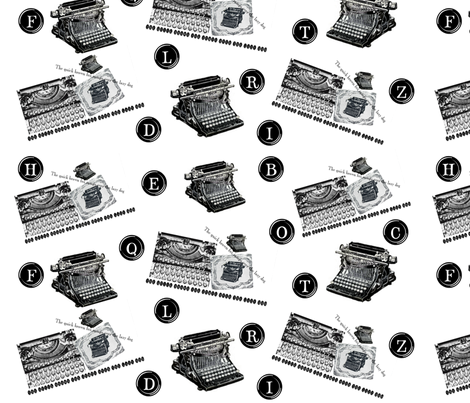 Typewriter  fabric by laurabotsford on Spoonflower - custom fabric