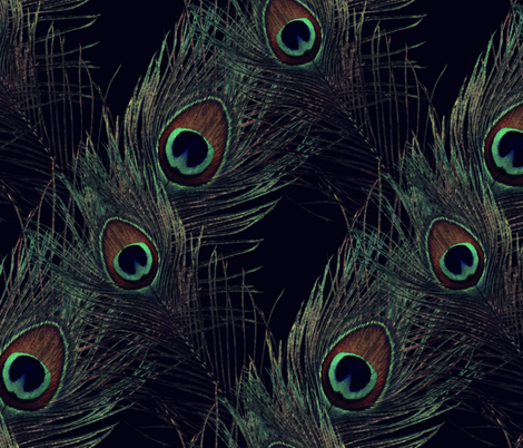 The Fabulous Peacock Black Diamond fabric by peacoquettedesigns on Spoonflower - custom fabric