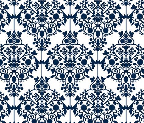 Persian Lattice-navy fabric by flyingfish on Spoonflower - custom fabric