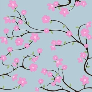 Cherry Blossoms (blue/ leaves)