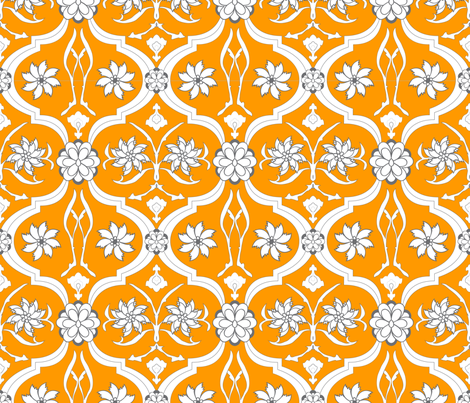 Orange Floral Print fabric by breekerle on Spoonflower - custom fabric