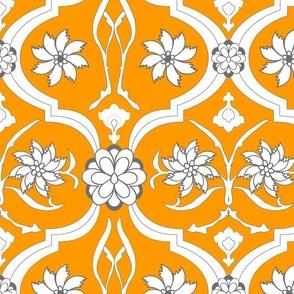 Orange Floral Print