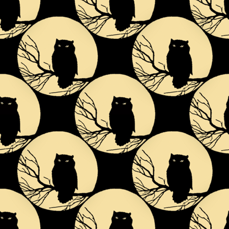 Owl in Black fabric by peacoquettedesigns on Spoonflower - custom fabric
