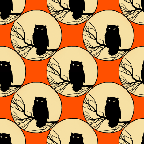 Owl In Orange fabric by peacoquettedesigns on Spoonflower - custom fabric