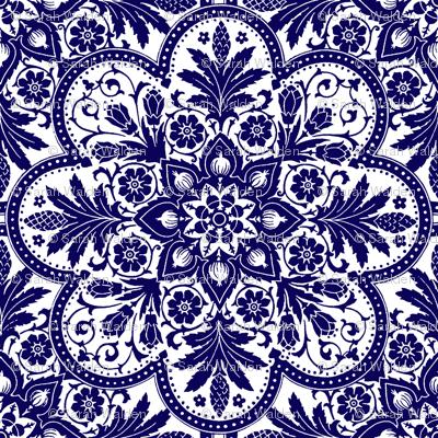 Bourgogne Tile ~  Admiral  ~ Blue and White