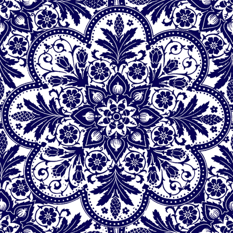 Bombay Blue & White fabric by peacoquettedesigns on Spoonflower - custom fabric
