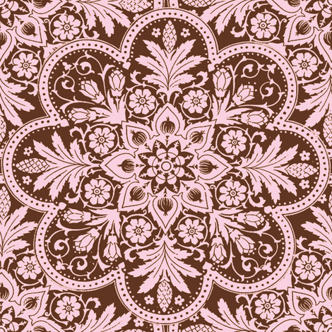 Bombay Pink and Brown fabric by peacoquettedesigns on Spoonflower - custom fabric