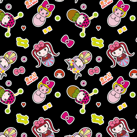 Kyary Kokeshi (Black) fabric by marcelinesmith on Spoonflower - custom fabric