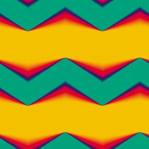 Teal-Red 3d Chevron and Golden Bands