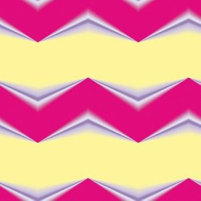 Red Periwinkle 3d Chevron and Lemon Yellow Bands