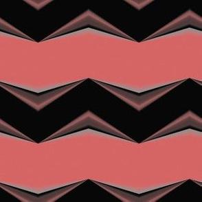 Dark Brown 3d Chevron and Salmon Bands