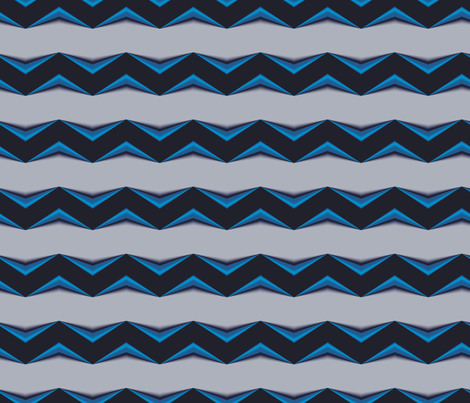Dark Blue 3d Chevron and Gray Bands fabric by animotaxis on Spoonflower - custom fabric