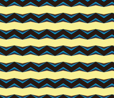 Black, Blue 3d Chevron and Creamy Yellow Bands fabric by animotaxis on Spoonflower - custom fabric