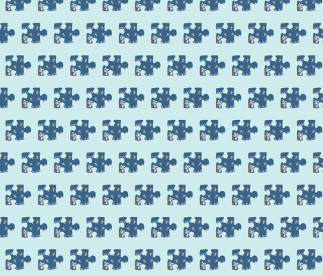 Paper Doll Puzzle Piece on Vintage blue fabric by karenharveycox on Spoonflower - custom fabric