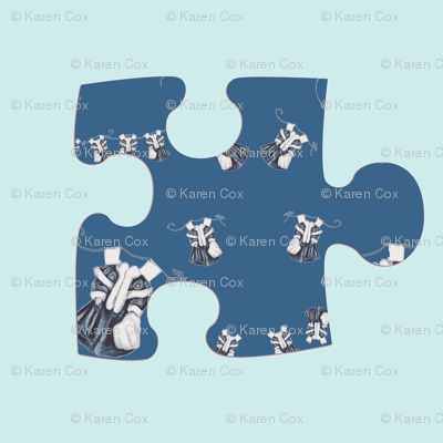 Paper Doll Puzzle Piece on Vintage blue small
