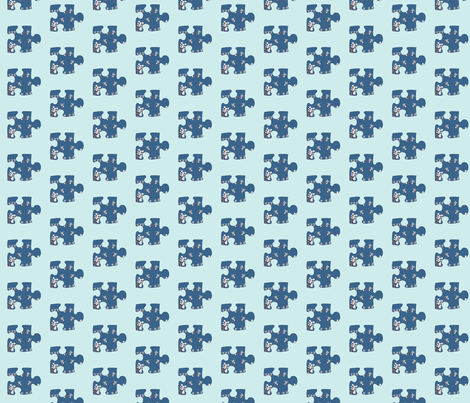 Paper Doll Puzzle Piece on Vintage blue small fabric by karenharveycox on Spoonflower - custom fabric
