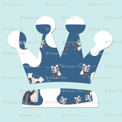 Paper Doll Dreams Crowns on Vintage blue