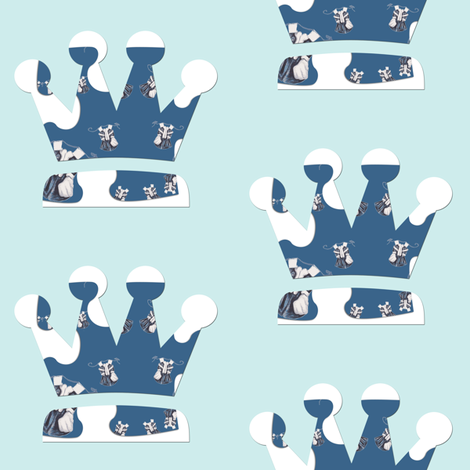 Paper Doll Dreams Crowns on Vintage blue fabric by karenharveycox on Spoonflower - custom fabric