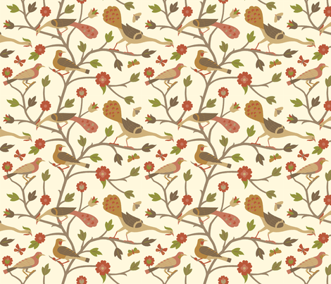 Persian Birds 613d fabric by muhlenkott on Spoonflower - custom fabric