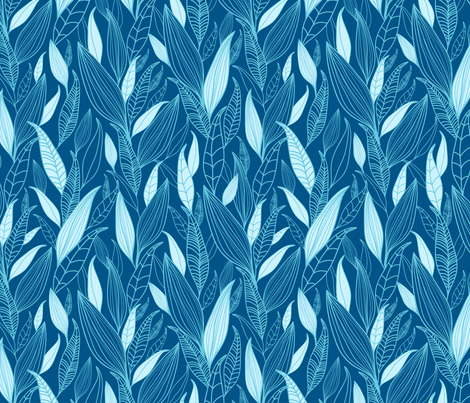 Blue Leaves fabric by oksancia on Spoonflower - custom fabric