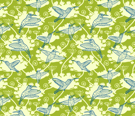 Humming Bird Garden fabric by oksancia on Spoonflower - custom fabric