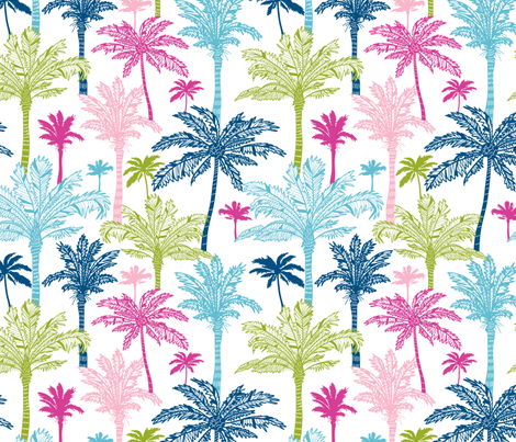 Colorful Palm Trees fabric by oksancia on Spoonflower - custom fabric
