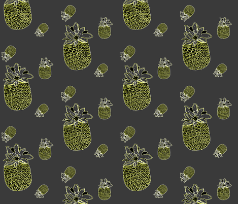 pineapples in gray fabric by isabella_asratyan on Spoonflower - custom fabric