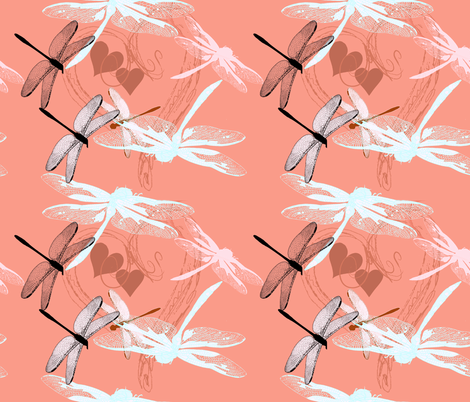 hearts and dragonflies fabric by isabella_asratyan on Spoonflower - custom fabric