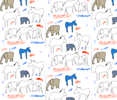 donkeys and elephants fabric by isabella_asratyan on Spoonflower - custom fabric