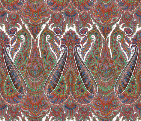 Paisley Sublime ~ Tea In The Conservatory fabric by peacoquettedesigns on Spoonflower - custom fabric