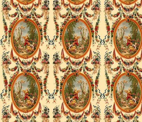 Rococo Swingers ~ Cream fabric by peacoquettedesigns on Spoonflower - custom fabric