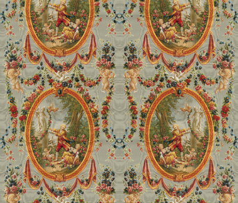 Rococo Swingers ~ Grey Moire fabric by peacoquettedesigns on Spoonflower - custom fabric