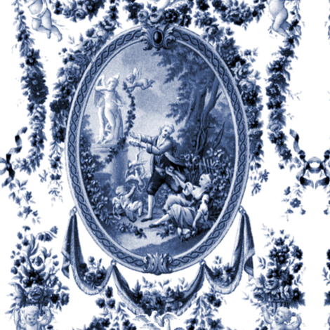 Rococo Swingers ~ Blue & White fabric by peacoquettedesigns on Spoonflower - custom fabric