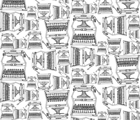 typeWRITER-b/w fabric by rachaelanndesign on Spoonflower - custom fabric