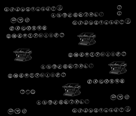 Antique Typewriters and Keys on Black fabric by datawolf on Spoonflower - custom fabric