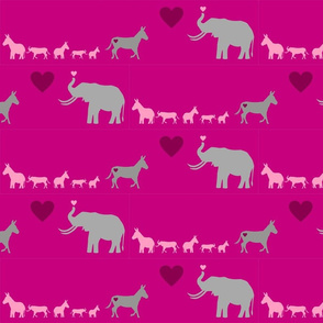 Donkey Elephant Love + kids on hotpink