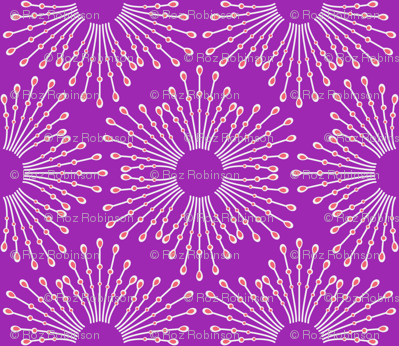 Starburst beaded flowers - spring tulip purple