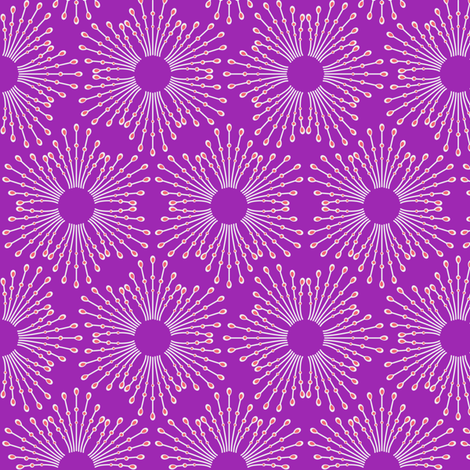 Starburst beaded flowers - spring tulip purple fabric by coggon_(roz_robinson) on Spoonflower - custom fabric