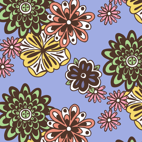 Full_Floral_v2_peri_bkgr-color-brown_repeat fabric by kissingfrogs on Spoonflower - custom fabric