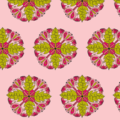 leaf criss cross pink chartreuse